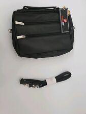 Leather Travel Organiser, Utility Shoulder Bag - Black