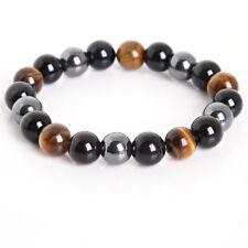 Beautiful Tigers Eye Hematite Obsidian Chakra Natural Stone Bracelet Reiki 10mm