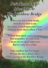 Personalised Rainbow Bridge Pet Dog Cat Memorial Poem Card & Ground Stake F397