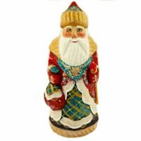 """Hand Painted Santa Claus Russian Father Frost Figurine Bag of Goodies 6 1/2"""""""