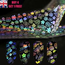 Holographic Nail Art Foil Rose Flower Leaves Starry Roses Stickers >>4<<