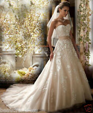 New Champagne White/Ivory Lace Wedding Dress Bridal Gown Custom Size 4-28++