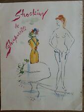 1949  shocking de Schiaparelli perfume imported France vintage Vertes art ad