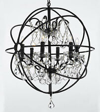 Foucault's Orb WROUGHT IRON CRYSTAL CHANDELIER 6 lights LIGHTING COUNTRY FRENCH