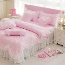 Bedding Set 4pc Princess Style Duvet Cover Bed Skirt Lace Pillowcases Wedding sz