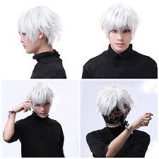 Tokyo Ghoul Kaneki Ken Short Silver White Cosplay Wigs Straight Hair Costume F