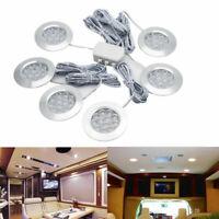 6PCS LED Under Cabinet Lights Recessed Kitchen Cupboard Ceiling Spotlights 12V