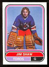 1975 76 OPC O PEE CHEE  WHA #55 JIM SHAW NM ROOKIE TORONTO TOROS HOCKEY RC CARD