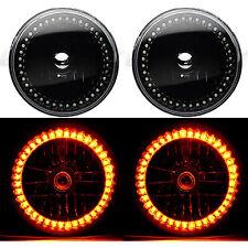 "7"" Black Halogen Headlight Amber LED Halo Angel Eye Headlamp 6K Light Bulb Pair"