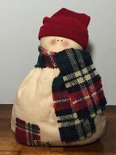 "Primitive Rustic bean bag fabric 5.5"" SNOWMAN figurine scarf hat jingle bell New"