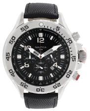 Nautica N19508G Black Dial Black Leather Strap Chronograph Men's Watch 47mm