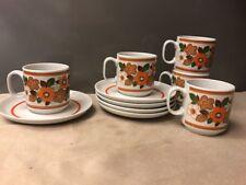 Set of 5 Italian Monopoli Porcelain Demitasse Espresso Cups & Saucers circa 1970