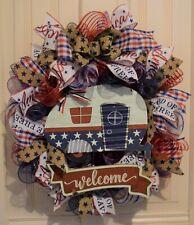 Handmade* Americana Vintage RV Wreath*  * *Red, White, Blue* 4th of July*