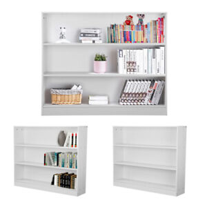 3 Tier Low Bookcase Display Shelving Storage Unit Wood Stand Shelves White