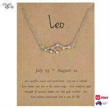Constellation Silver Crystal Pendant Necklace Leo Zodiac Star Sign