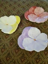 New listing Vintage Pansy Plates (3) yellow pink and purple. Ernestine Salerno. Italy