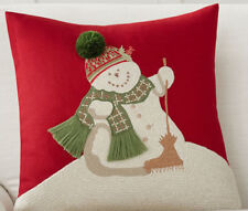 """POTTERY BARN MELTING SNOWMAN CREWEL EMBROIDERED XMAS PILLOW COVER 18"""" NEW"""