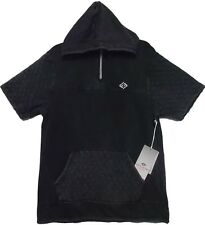 Enyce New York Men's 1/4 Zip Quilted Faded Black Hoodie Unique NWT Size M