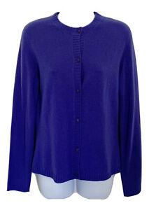 NEW NWT $208 PECK & PECK Womens 100% Cashmere Cardigan Sweater Purple Medium M