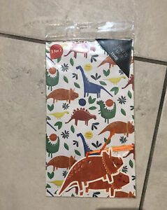 1 X Dinosaurs Wrapping Paper Sheet (pack Of 2) With Tags
