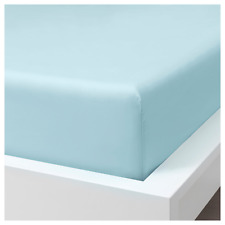 Ikea DVALA Full/Double Fitted Bed Sheet 100% Cotton Light Blue - NEW in Package
