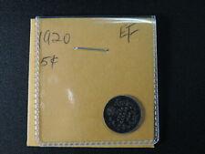 1920 5 Cent Coin Canada King George V Five Cents .800 Silver EF Condition