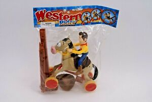 RARE VINTAGE TOY STORY 2 WESTERN RIDER - KNOCKOFF WOODY PUSH / PULL ACTION TOY