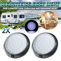 Pair 12V 46 LED Down Light Cabin Ceiling Roof Lamp Caravan/Camper/Trailer/Boat