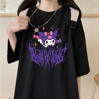 Cute Harajuku Cartoon Pattern Printed Round Neck Short Sleeve T-shirt Girls