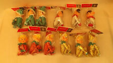 12 Vtg Shiny Brite Knee Hugger Pixie Elf Ornaments Metallic NOS Japan