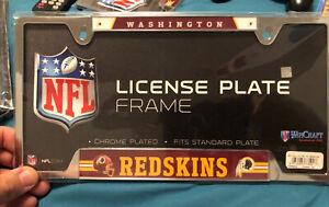 Washington Redskins Chrome Metal License Plate Frame by Wincraft NEW. NFL