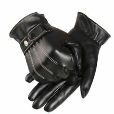 Men Luxurious Gloves PU Leather Winter Super Driving Warm Cashmere Solid Buttons