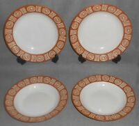 Set (4) Pottery Barn BONGO PATTERN - BROWN COLOR Rimmed Soup Bowls
