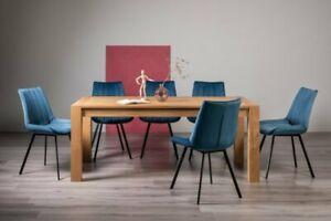 Blake Light Oak 8-10 Seater Dining Table & 8 Fontana Blue Velvet Fabric Chairs w