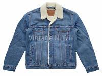Levis Premium Red Tab Mens M Blue Wash Denim Jean Sherpa Lined Trucker Jacket