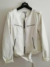 M&S faux leather biker jacket White Size 18