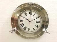 "15"" Antique Marine Brass Ship Porthole Clock Nautical Wall Mounted Clock Home"