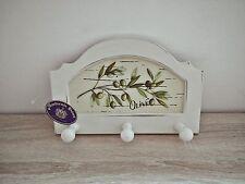 Hakenleiste Handtuchhalter Olive Vintage Shabby Chic Holz Garderobe Cremeweiß