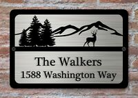 "Personalized House Address Custom Plaque 12"" x 8"" Aluminum Deer Trees Art Sign"