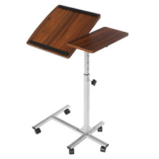 Portabable Laptop Desk Stand Rolling Table Height Adjustable Tilting Home Office