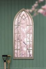 Gothic Designed Large Outdoor Arched Garden Wall Mirror 4ft11 X 2ft