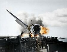 "F6F-3 Hellcat crash landing onto USS Enterprise 8""x 10"" WWII WW2 Color Photo 438"
