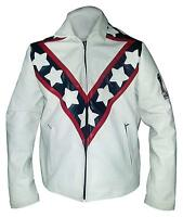 Mens Evel Knievel White Biker Stunt Leather Jacket | All Sizes