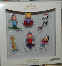 Hallmark 2007 Winter Sports Set of 6 Peanuts Gang Ornaments Miniature Snoopy