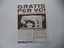 advertising Pubblicità 1962 MACCHINA PER CUCIRE BORLETTI 1102