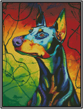 Cross Stitch Pop Art Colorful Doberman - Complete Kit No.16-162