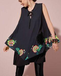 Desigual Asymmetric Sleeveless Dress Black size EUR36, AUS-UK8 NWT (D52)