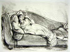 Gravure Pointe seche XIX° Femme allongée par Norbert Goeneutte papier Van Gelder