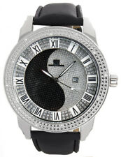 Super Techno Mens Black/Silver Dial Black Leather Band Diamond Watch I-5020 49mm
