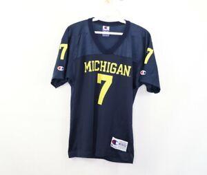 Vintage 90s Champion Youth Medium Michigan Wolverines #7 Football Jersey Blue
